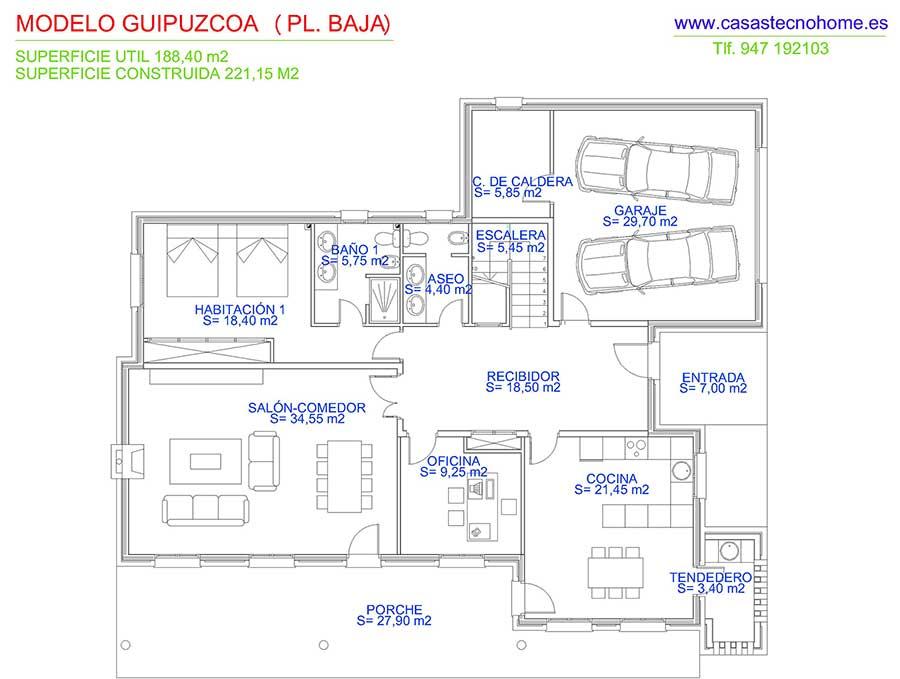 plano casas prefabricadas en guipuzcoa